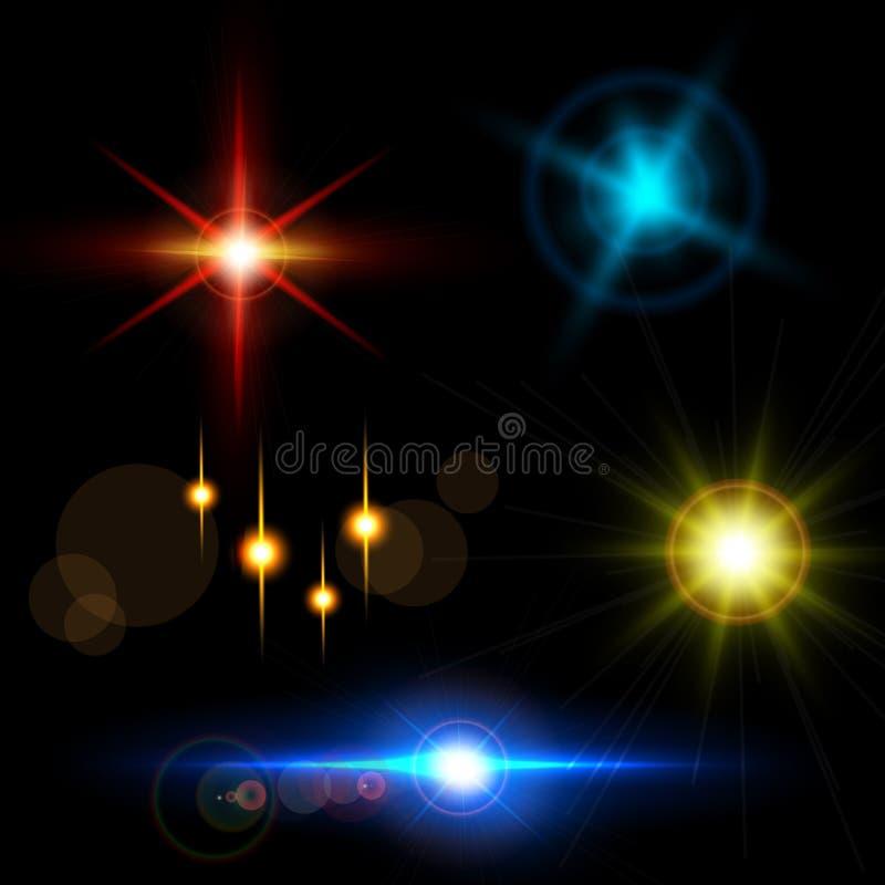 Set błyskotań światła z przezroczystość skutkami Kolekcja piękni jaskrawi obiektywów racy ilustracji