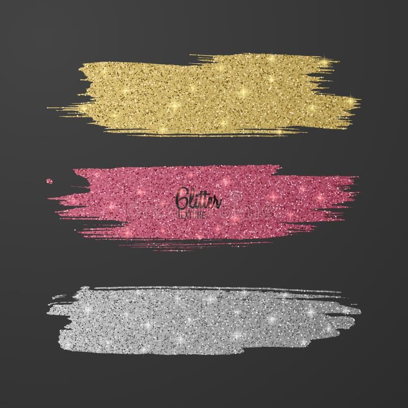 Set błyskotliwość muśnięcia, menchia, złoto i osrebrza kilka kolory na ciemnym tle, błyszczący, luksusowy skutek dla twój projekt ilustracja wektor