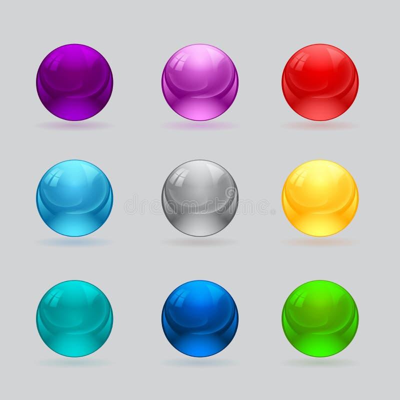 Download Set Błyszczących Piłek Różni Kolory Ilustracji - Ilustracja złożonej z oceniać, charcica: 28972289