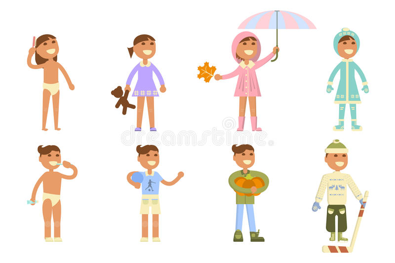 Set with babies. Different weather. Flat design, boy and girl in apparel of various seasons. Cartoon characters, illustration vector eps10 vector illustration
