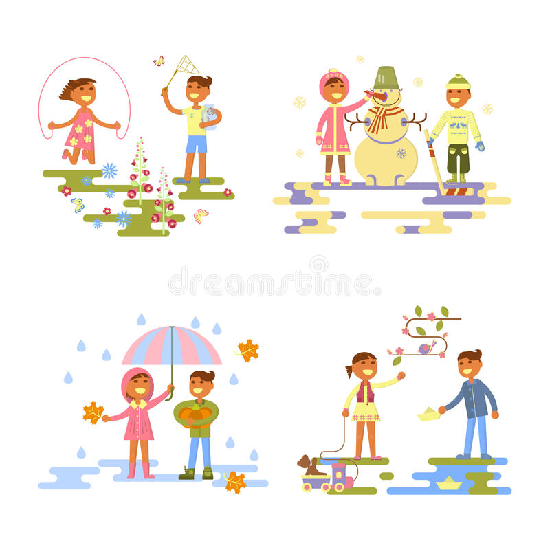 Set with babies. Different weather. Flat design, boy and girl four seasons. autumn, winter, spring, summer. Cartoon characters, illustration vector eps10 stock illustration