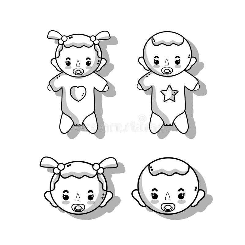 Set babies with haistylec and pacifier. Vector illustration vector illustration