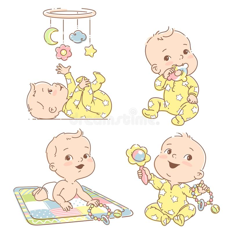Set of babies playing toys. First year games. Baby hold teething toy. Baby lay on developing mat Baby look at mobile. Toddler in pajamas. Colorful vector royalty free illustration