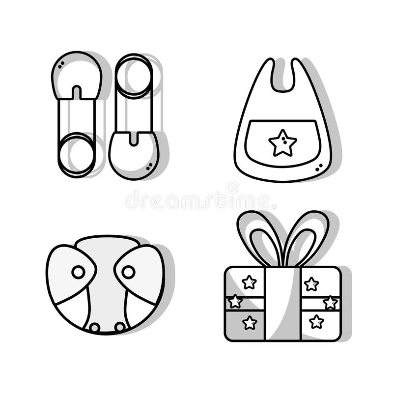 Set babies tool and present gift. Vector illustration stock illustration