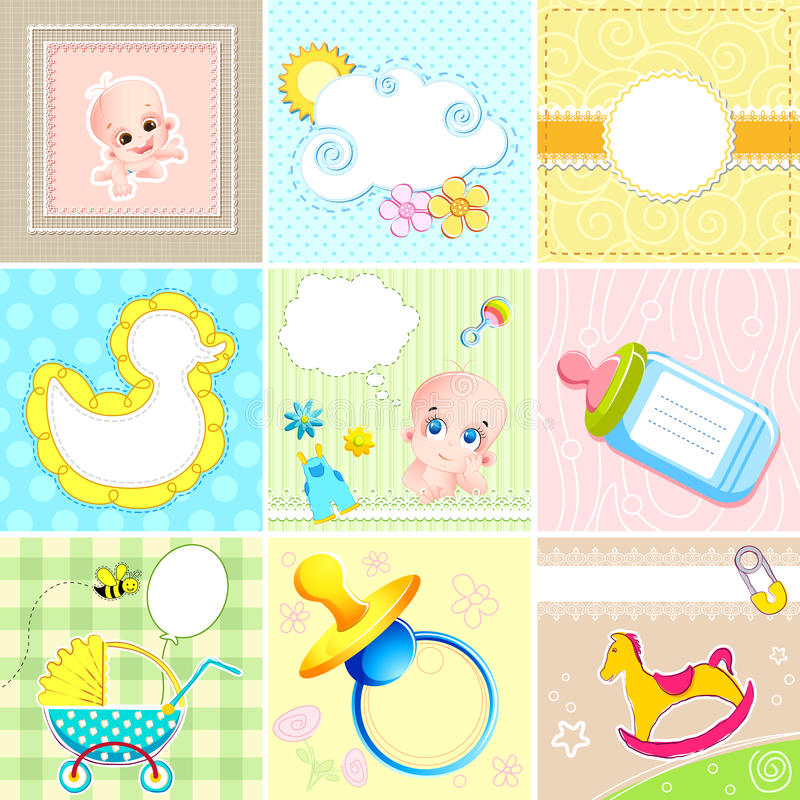 Set of Baby Arrival Card vector illustration
