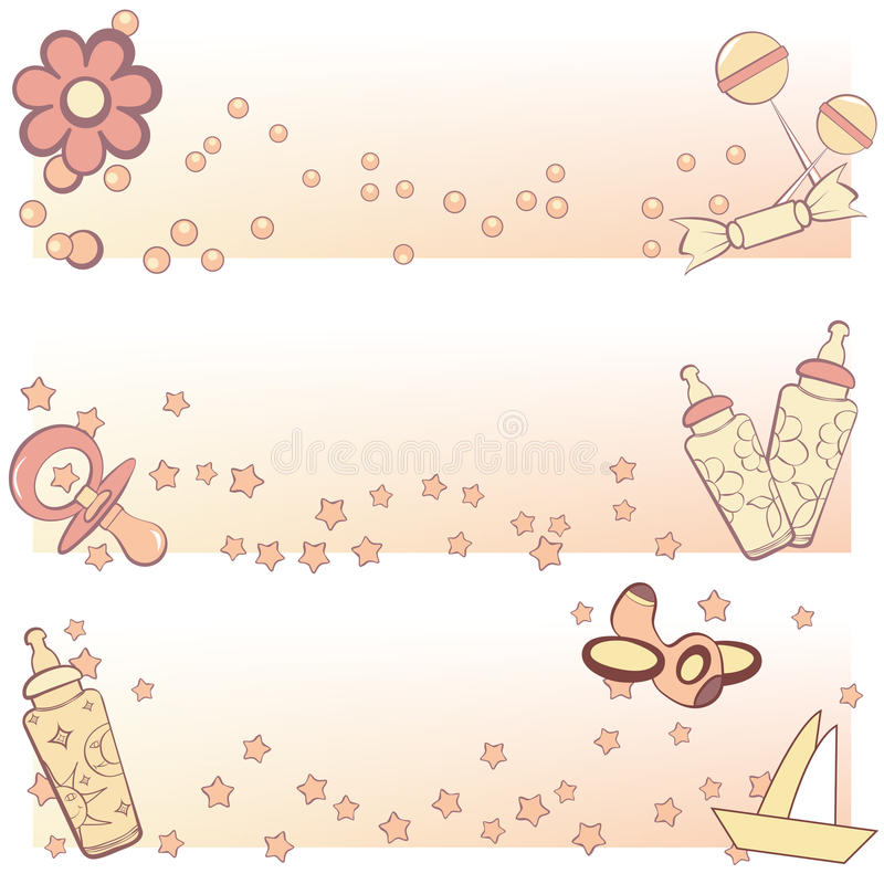 Set Of Baby Banners Royalty Free Stock Image