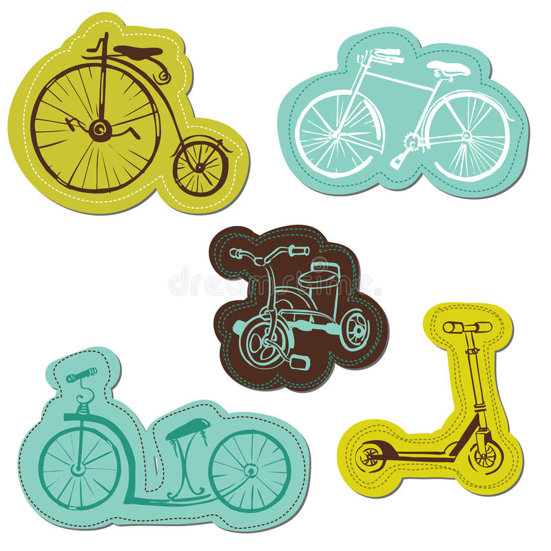 Download Set of Baby Bike Stickers stock vector. Image of retro - 31304454