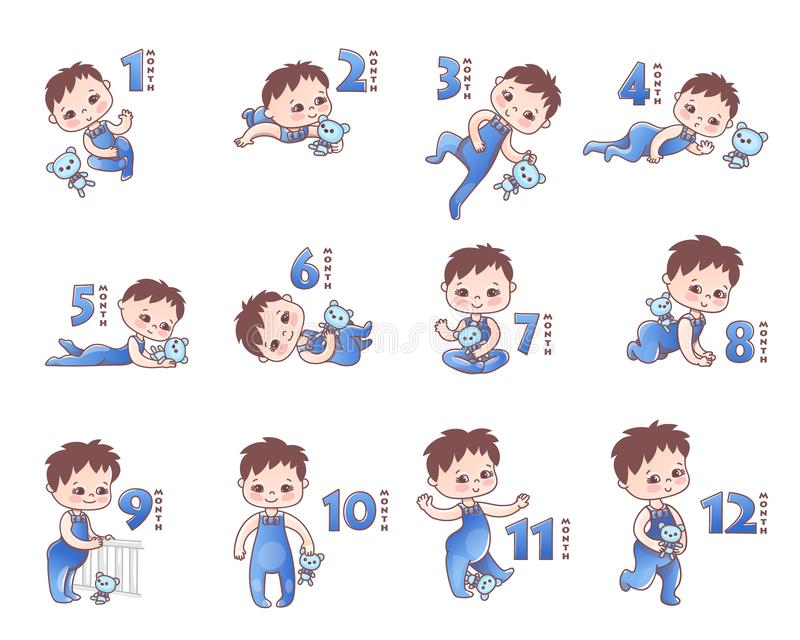 Set of Baby boy . Growth stages from 1 month to 1 year. Little baby with pink bow and toy. Stages of child development. In the first year of life stock illustration