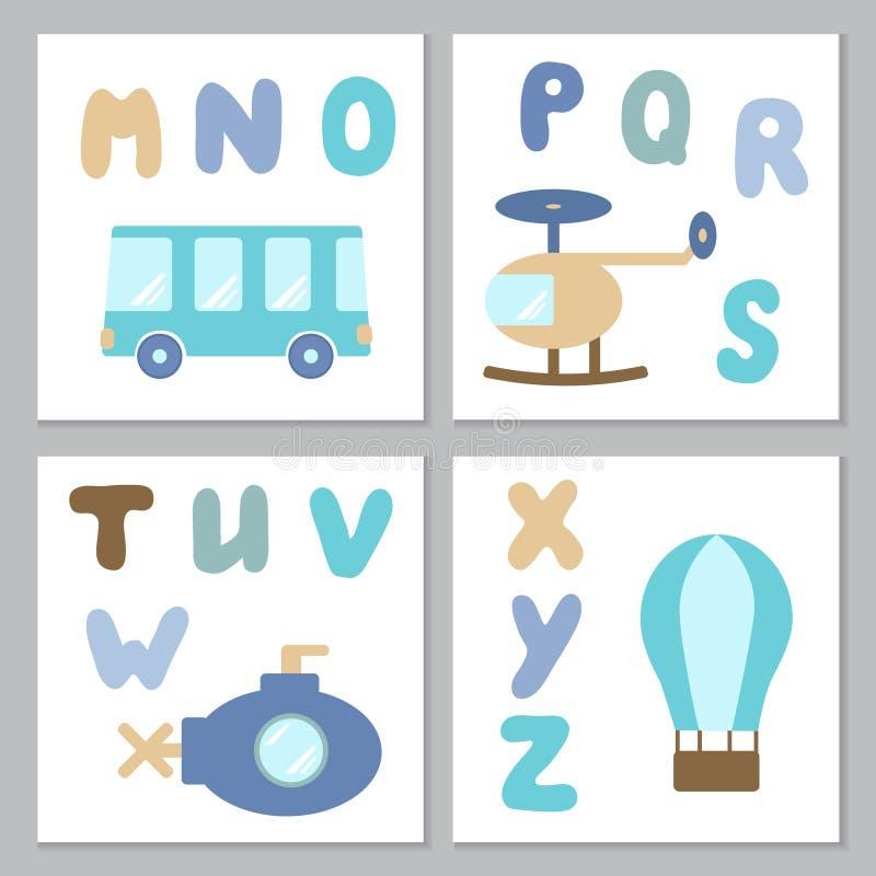 Set of baby boy printables royalty free illustration