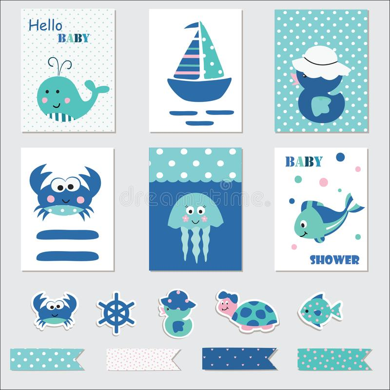 Set of baby cards with marine animals. Set of baby cards and scrapbook elements with marine animals for baby shower, birthday, invitation royalty free illustration