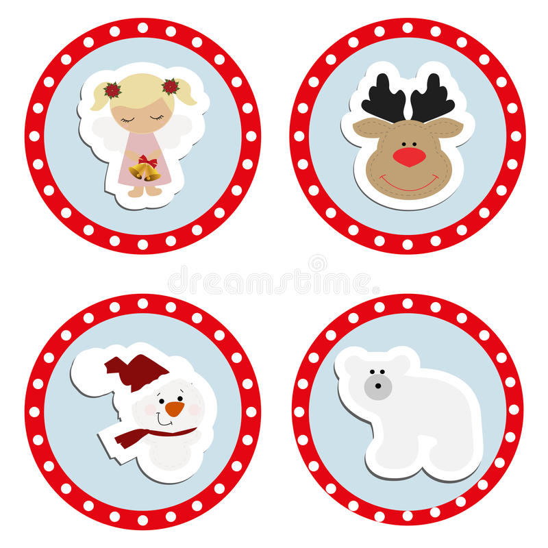 Set baby Christmas stickers. Collection of badges labels. For the new year. Templates for decoration or design. Vector illustration vector illustration
