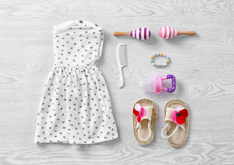Set of baby clothes and accessories stock photography
