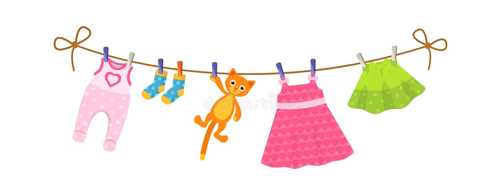 Set of baby clothes for children. Clothes for newborn girl. Kids clothes on clothesline. Drying children`s clothes and accessories after washing on a rope. Baby vector illustration