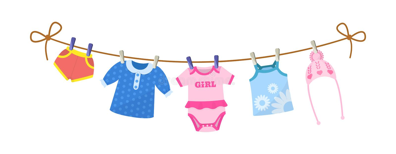 Set of baby clothes for children. Clothes for newborn girl. stock illustration