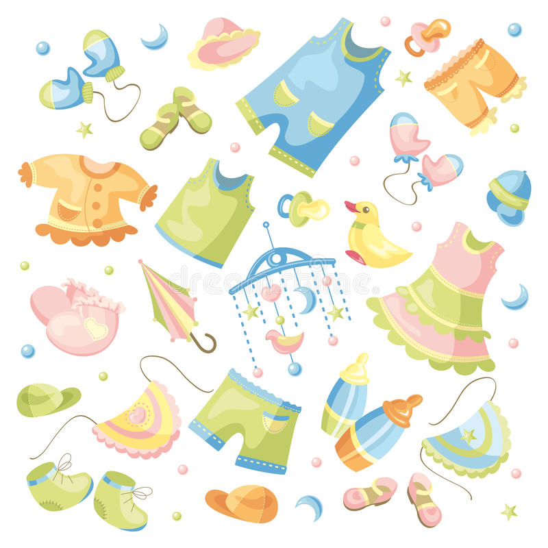 Download Set of baby clothing stock vector. Illustration of dress - 22109786