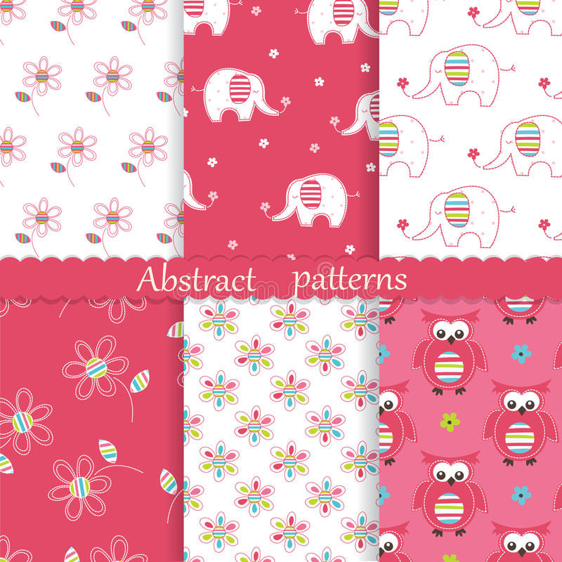 Set of baby cute seamless patterns royalty free illustration