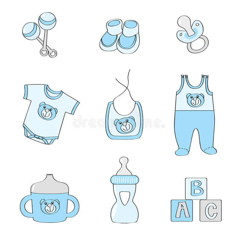 Set Of Baby Elements - Blue Color For Boys Stock Vector ...