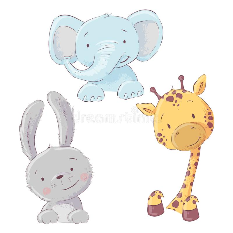 Set of baby elephant bunny and giraffe. Cartoon style royalty free illustration