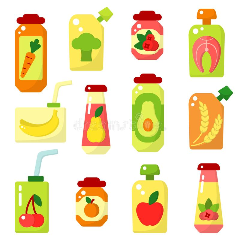 Set of baby food in jars vector illustration