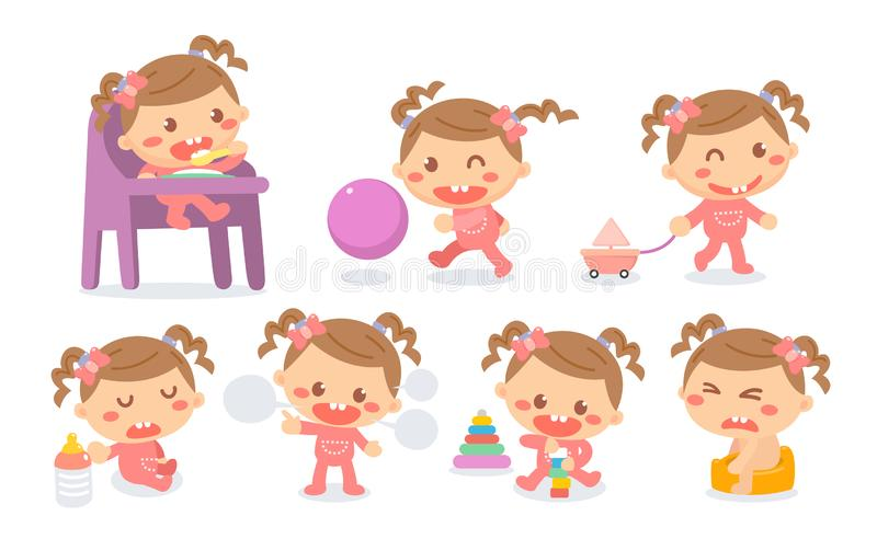 Set of baby girl development stages in actions. Baby milestones. Exploration stock illustration