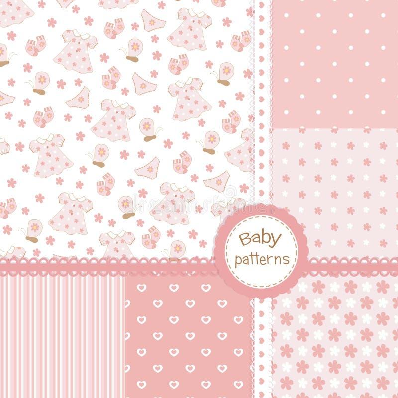Baby girl seamless patterns stock illustration