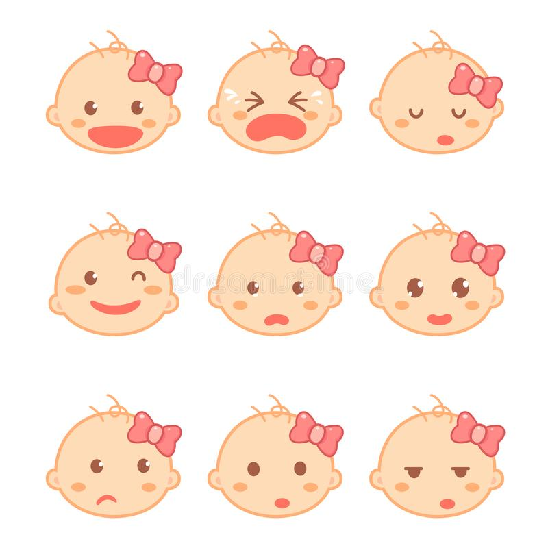 Set of a baby girl or toddler emotions in a flat design cartoon character. Baby development and milestones. Exploration stock illustration