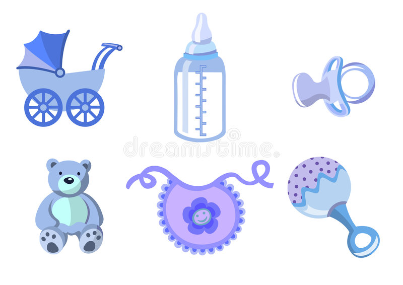 Set of baby icons. Vector illustration of baby icons. Includes carriage, bottle, teddy bear, bib, pacifier and rattle stock illustration