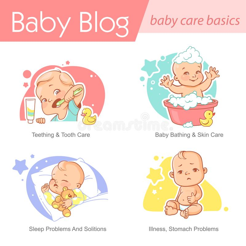 Set of baby illustration. First year growth and activity. Baby illustration. Child care and development. Baby brush teeth, sleep, bath,ill. First year of child royalty free illustration