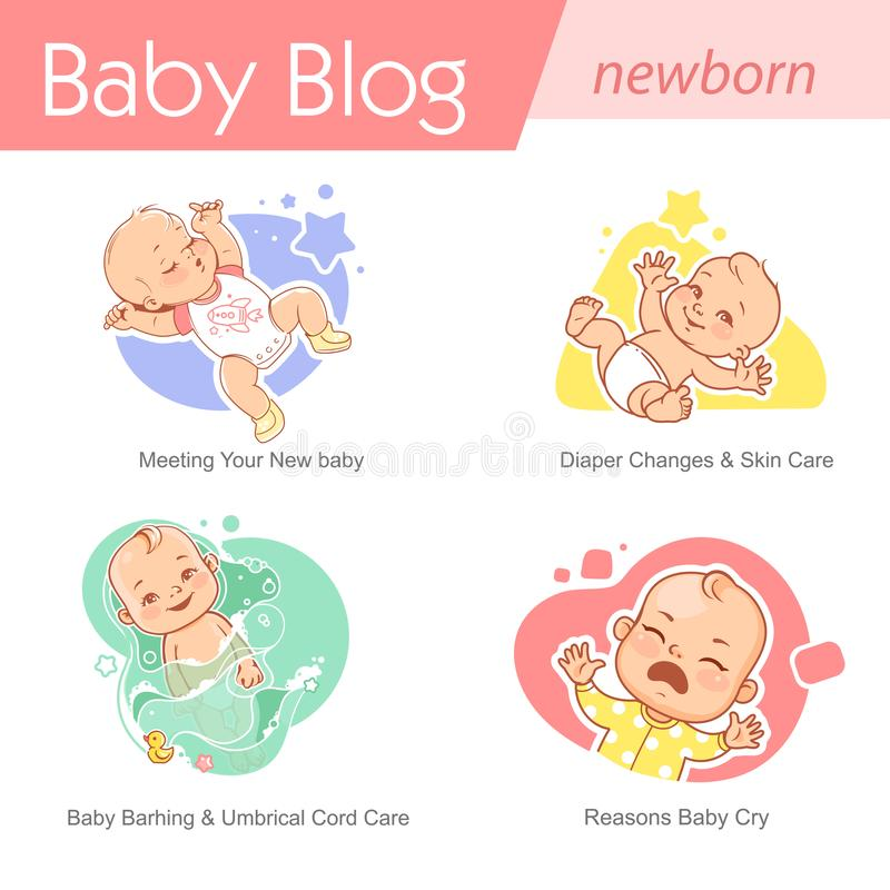 Set of baby illustration. First year growth and activity. Baby illustration. Newborn care and development. Baby growing, sleeping, bath,cry. First year of child royalty free illustration