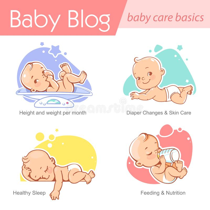 Set of baby illustration. First year growth and activity. Baby illustration. Newborn care and development. Baby on scale, with bottle,lay on stomach.. First stock illustration
