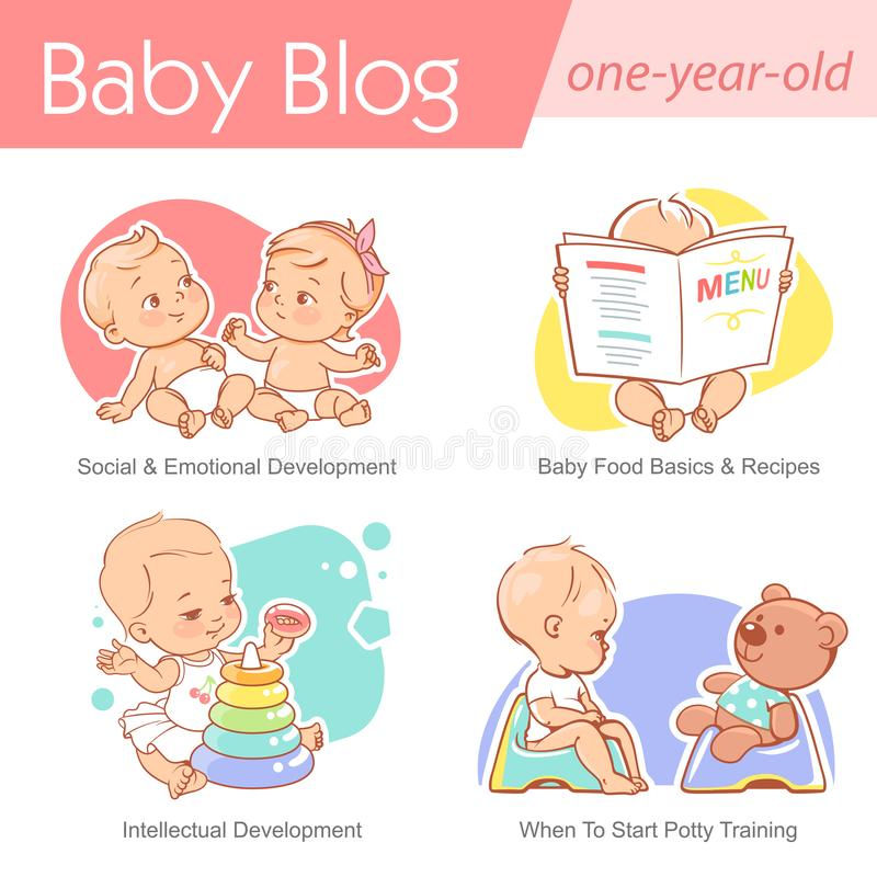 Set of baby illustration. First year growth and activity. Baby illustration. One year old care and development. Baby grow, play, sit on potty. First year of stock illustration