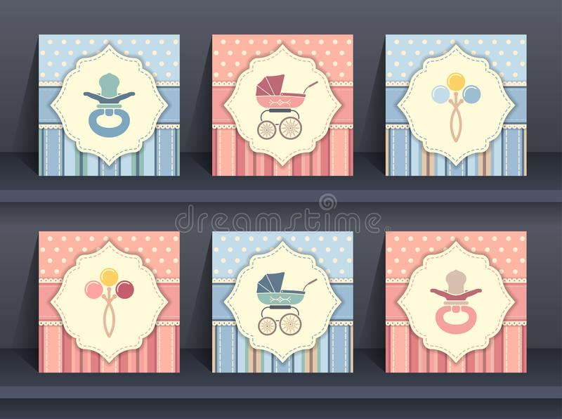 Set of baby invitation cards vector illustration