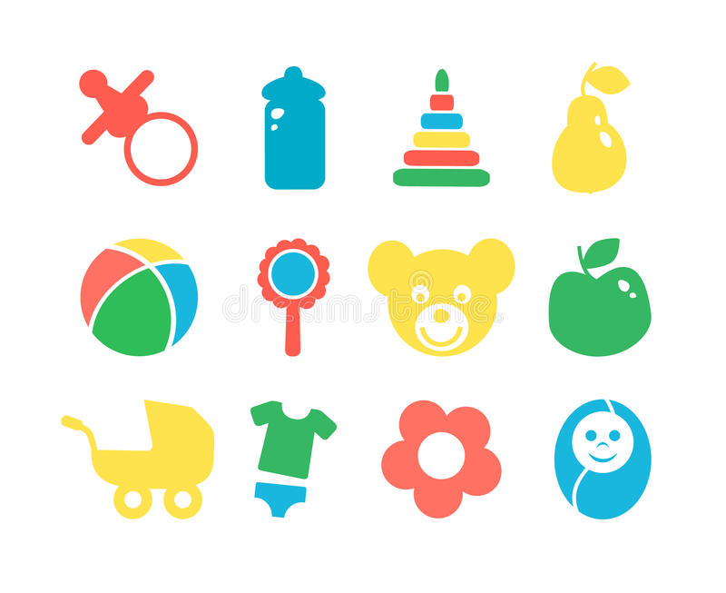 Set of baby objects colorful icon. vector illustration