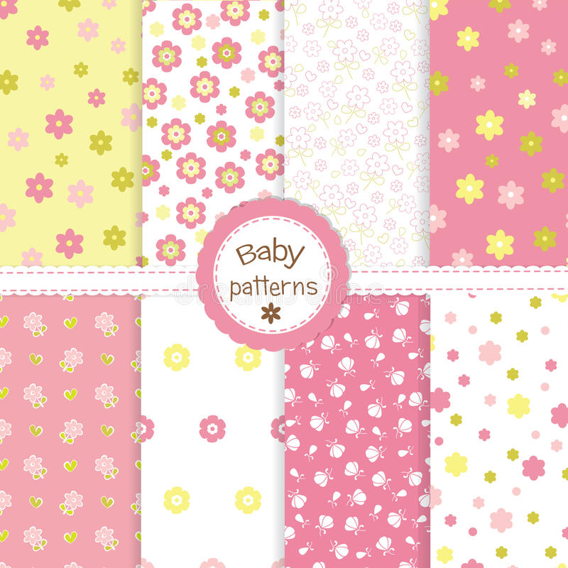 Set of baby patterns royalty free illustration
