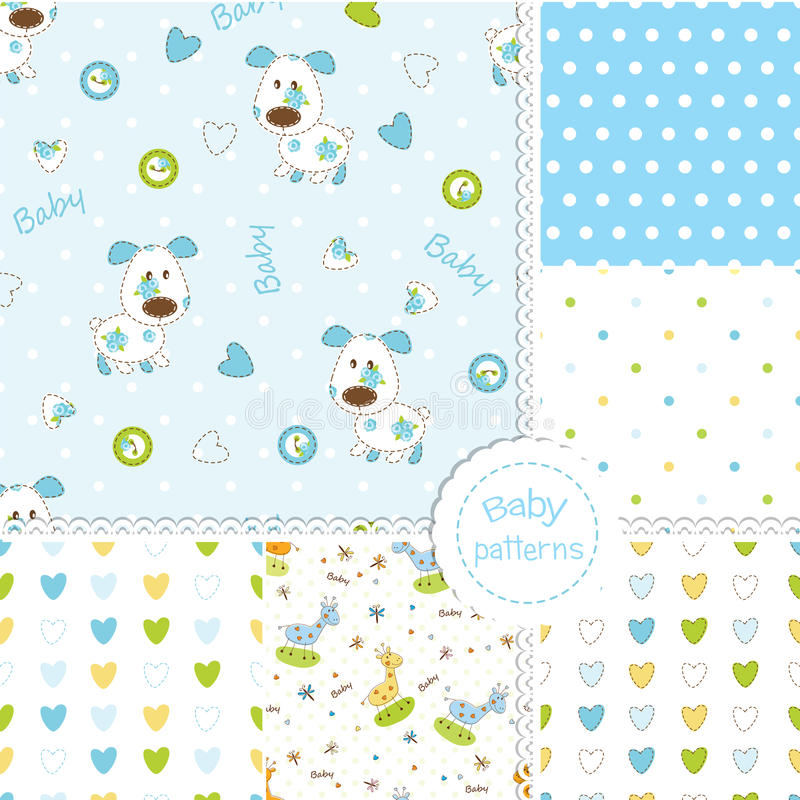 Set of baby patterns stock illustration