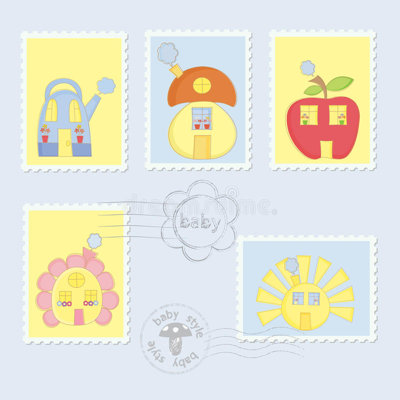 Set of Baby Post Stamps vector illustration