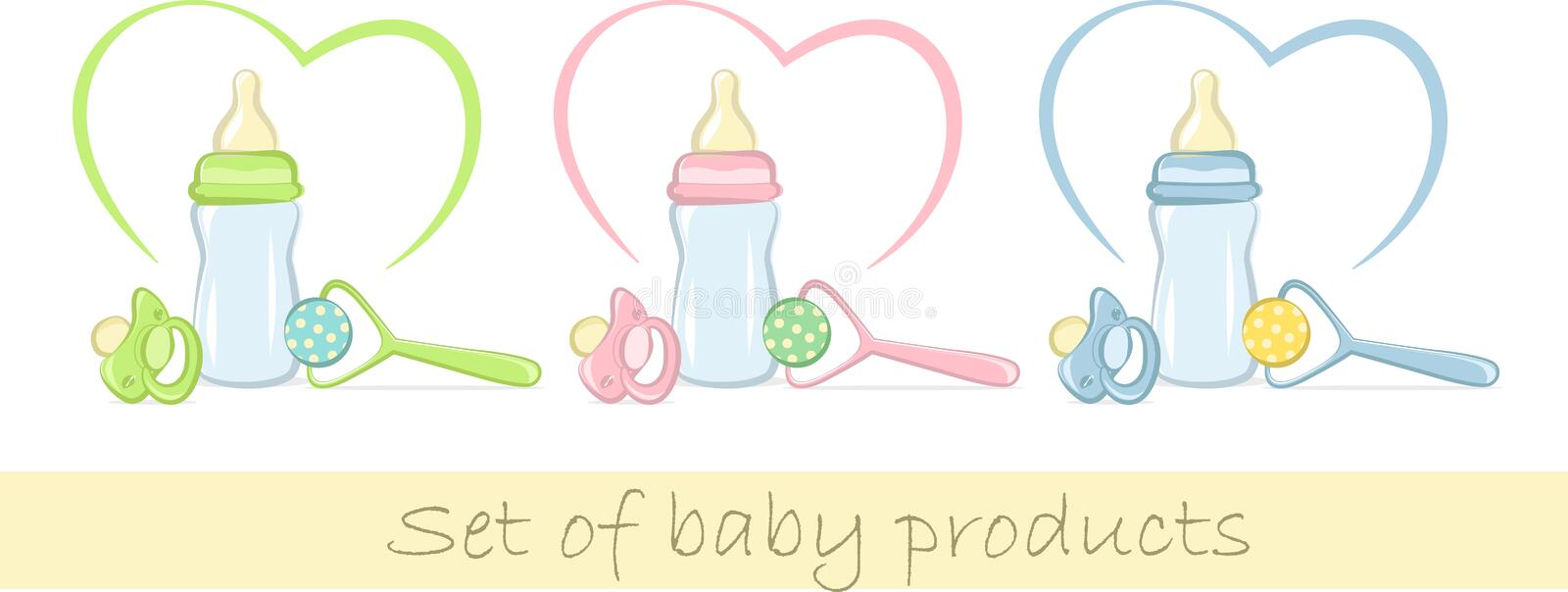 Download Set Of Baby Products In Gentle Colors Stock Vector - Illustration of icon, bottle: 22205503
