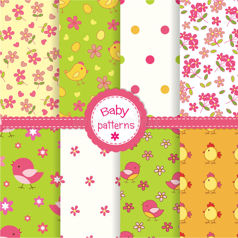 Set of baby seamless patterns royalty free illustration