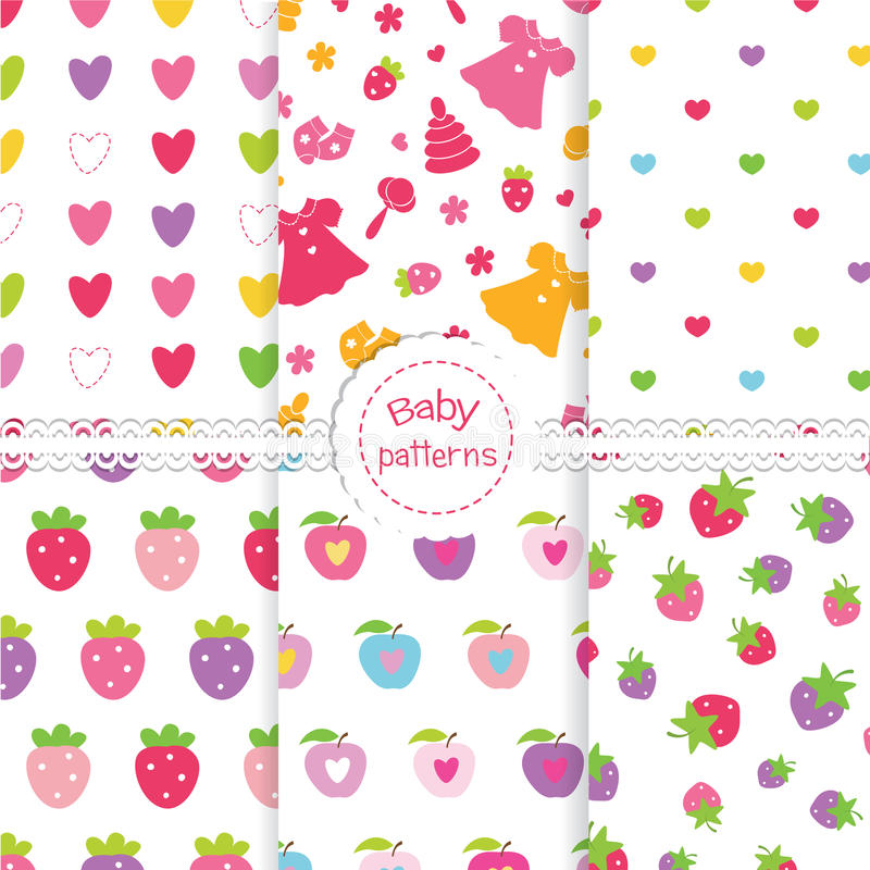 Set of baby seamless patterns stock illustration