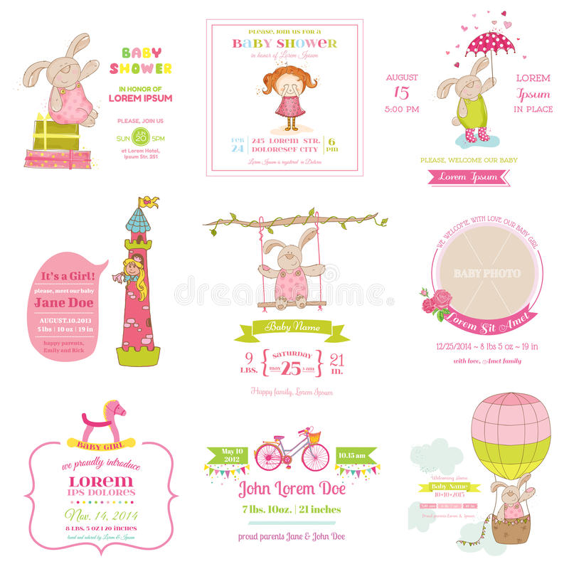 Set of Baby Shower and Arrival Cards royalty free illustration