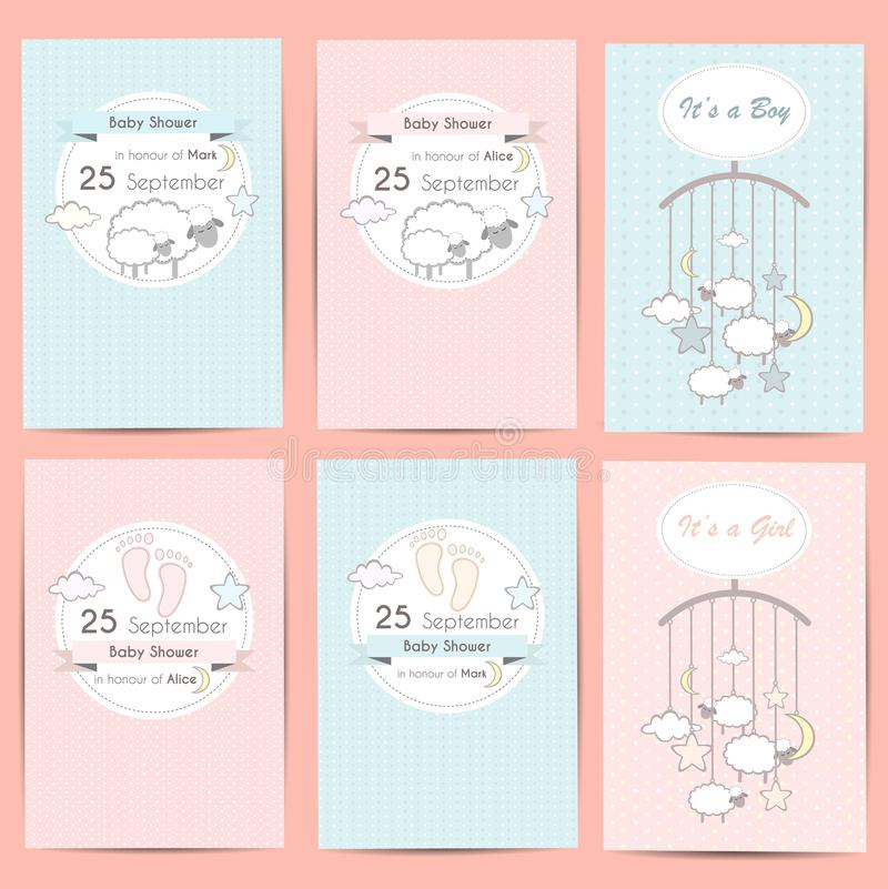 Set of Baby shower boy and girl invitation cards royalty free illustration