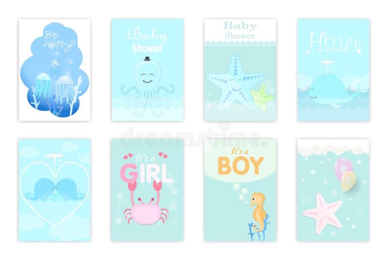 Set of baby shower cards, birthday card, greeting card. Marine i stock illustration
