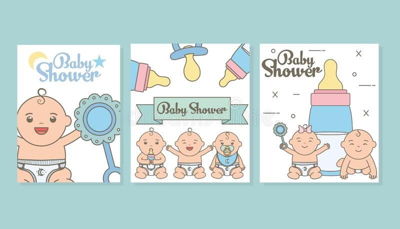 Set baby shower cards with cute little babies. Vector illustration design royalty free illustration