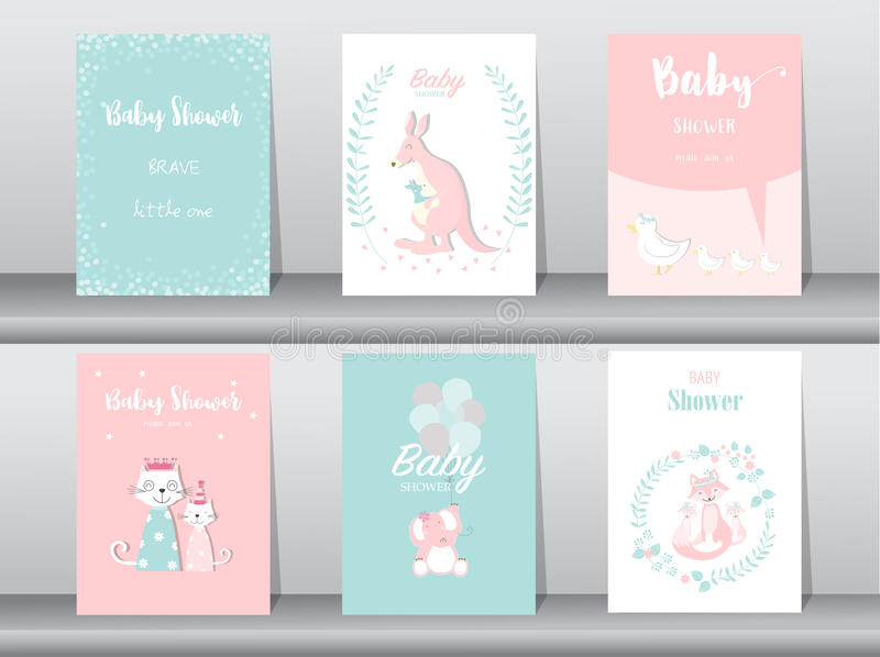 Set of baby shower invitation cards,birthday cards,poster,template,greeting cards,cute,kangaroo,cats,elephant,fox,animal,Vector il. Set of baby shower invitation stock illustration