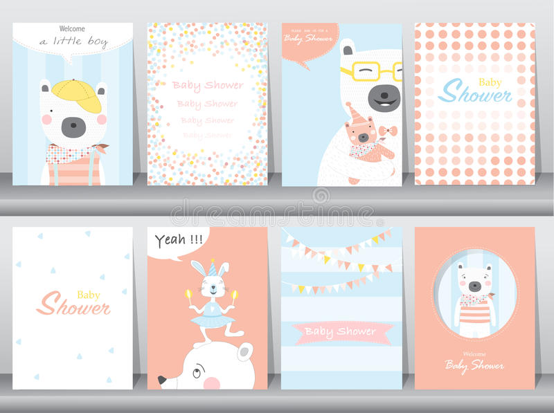 Set of baby shower invitation cards,birthday,poster,template,greeting cards,animals,cute,bears,Vector illustrations royalty free illustration