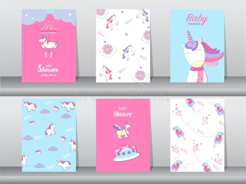 Set of baby shower invitation cards,birthday cards,poster,template,greeting,cards,cute,fantasy,unicorn,animal,Vector illustrations. Set of baby shower invitation stock illustration
