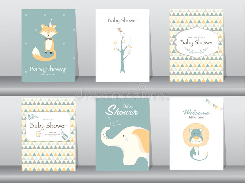 Set of baby shower invitation cards,poster,template,greeting cards,animal,Vector illustrations royalty free illustration