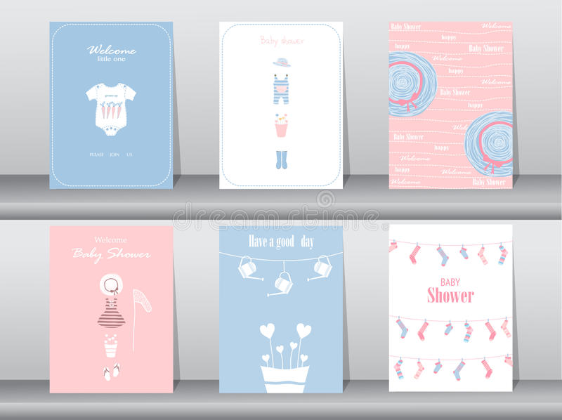 Set of baby shower invitation cards,poster,template,greeting cards,baby clothes,Vector illustrations. Set of baby shower invitation cards,poster,template stock illustration