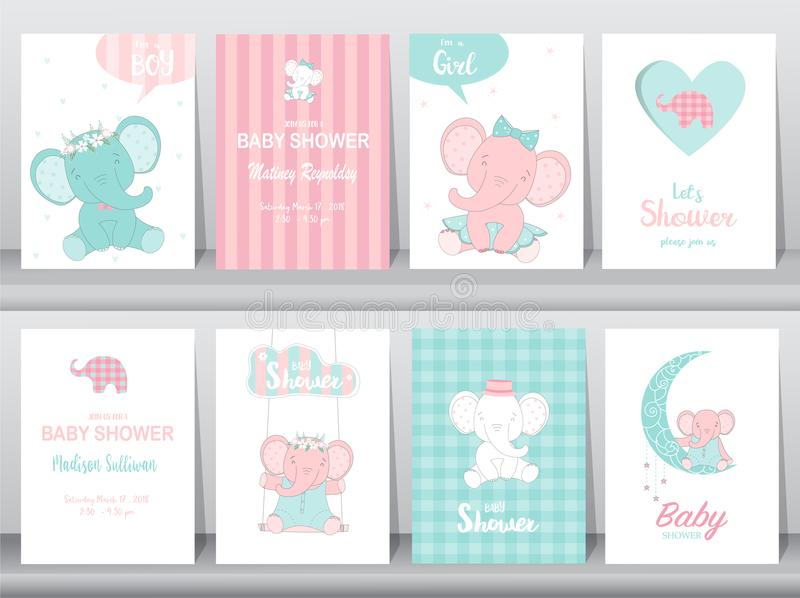 Set of baby shower invitations cards,birthday card,elephants, poster, greeting, template, animals, Vector illustrations. Set of baby shower invitations cards stock illustration