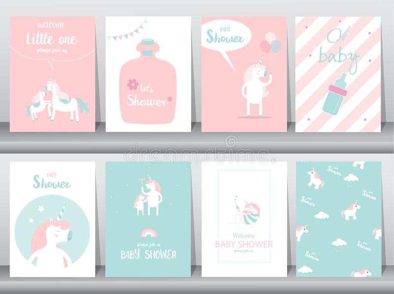 Set of baby shower invitations cards, poster, greeting, template, animals,unicorn,fantasy,birthday,happy,magic, Vector illustratio. Set of baby shower stock illustration